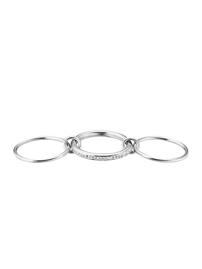 Ring 925/- Sterling Silber Topas weiß rhodiniert 0,004ct/pc. 925/- Sterling Silber