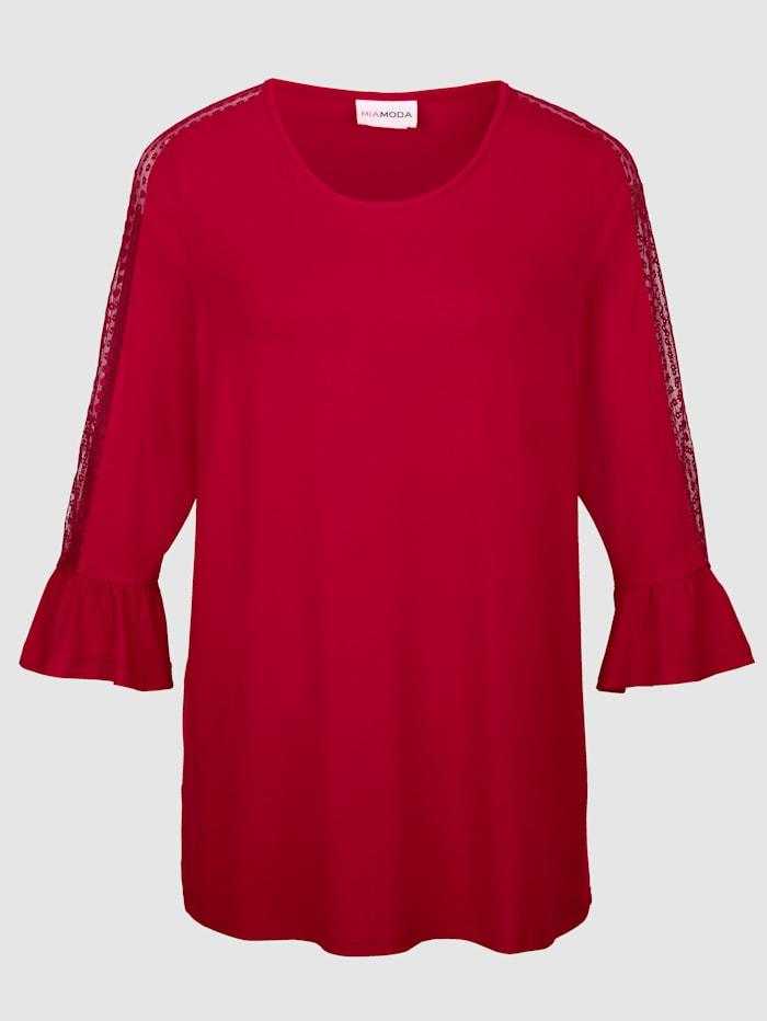 MIAMODA T-shirt avec empiècement dentelle aux manches et épaules, Rouge