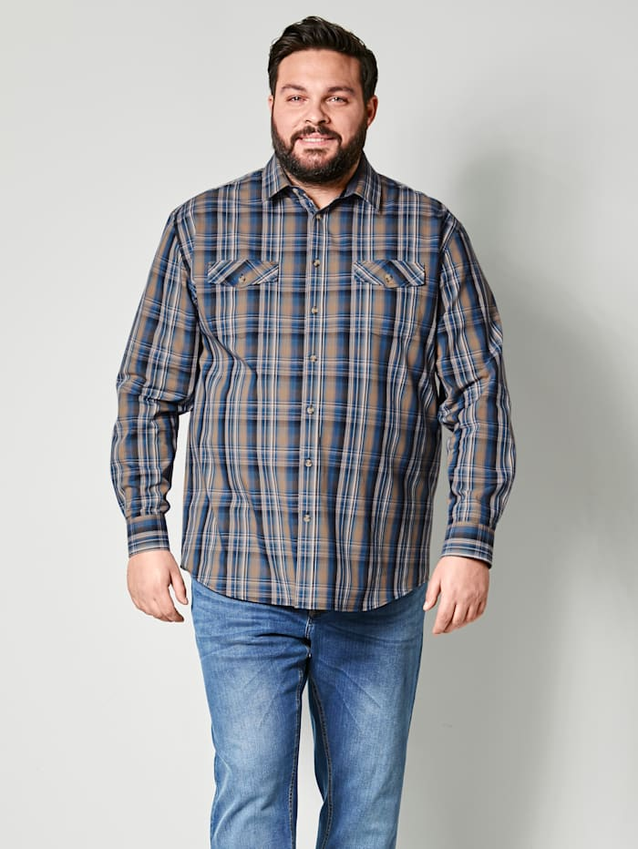 Men Plus Hemd aus reiner Baumwolle, Marineblau/Dunkelblau