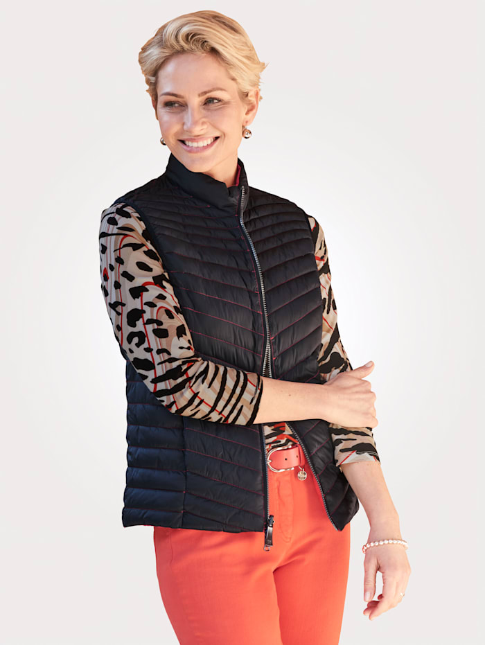 Barbara Lebek Keerbare bodywarmer, Rood/Zwart