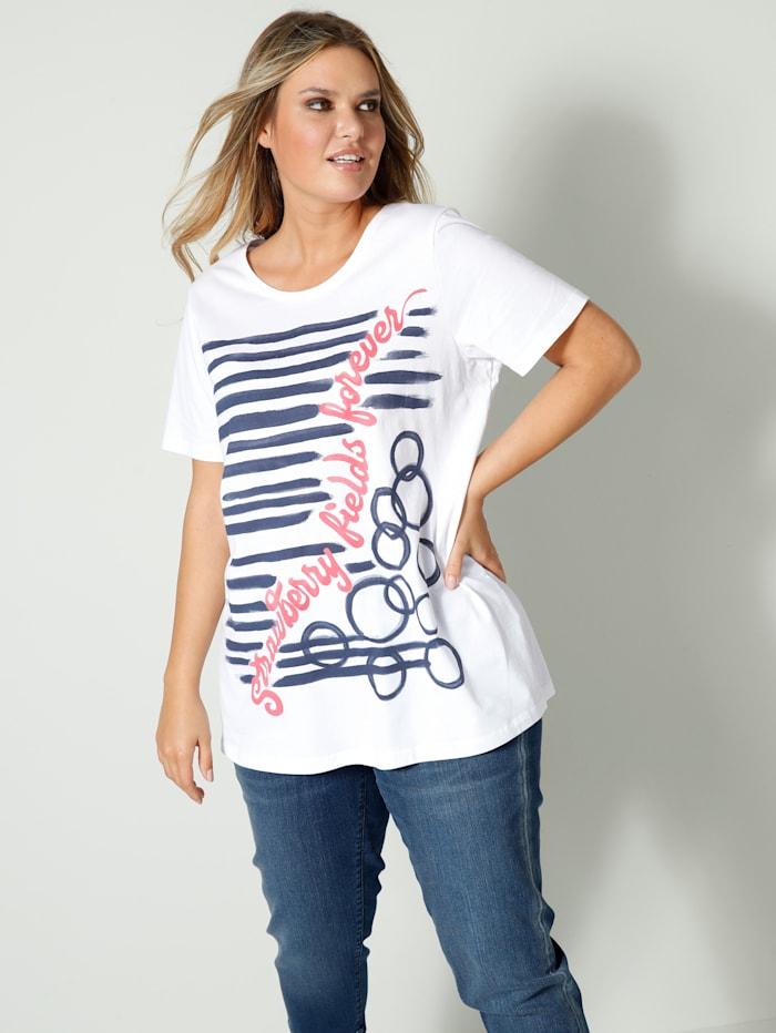 Janet & Joyce Shirt aus reiner Baumwolle, Weiß/Koralle/Marineblau