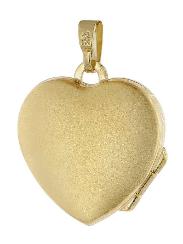 Herz-Medaillon Gold 333 an vergoldeter Silberkette