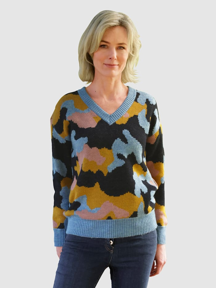 Dress In Pullover mit modischem Muster, Blau