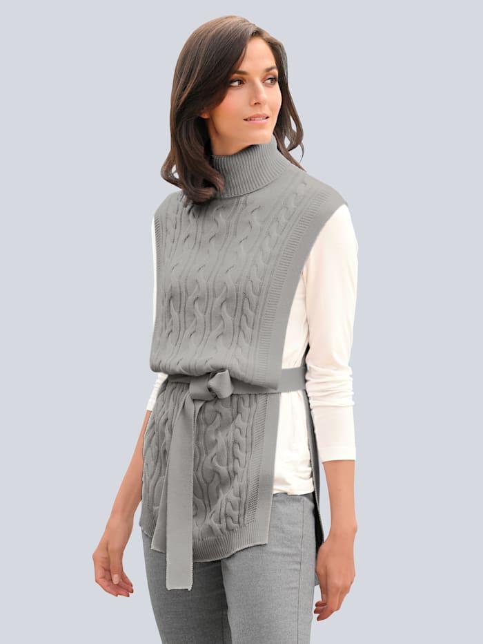 Alba Moda Pullunder im effekvollen Strickmix, Grau