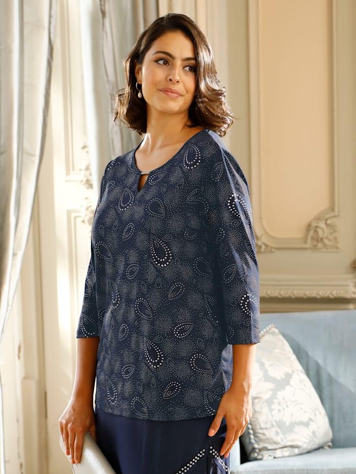 m. collection Shirt rundum mit strukturiertem Glitzerdruck, Marineblau