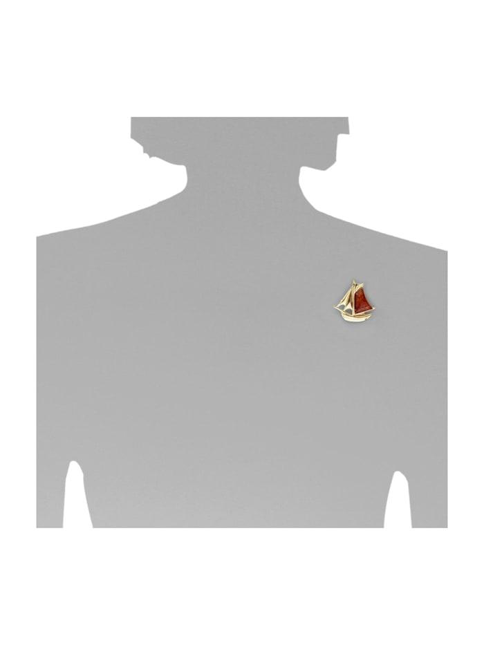 Brosche - Schiff - Silber 925/000, vergoldet - Bernstein