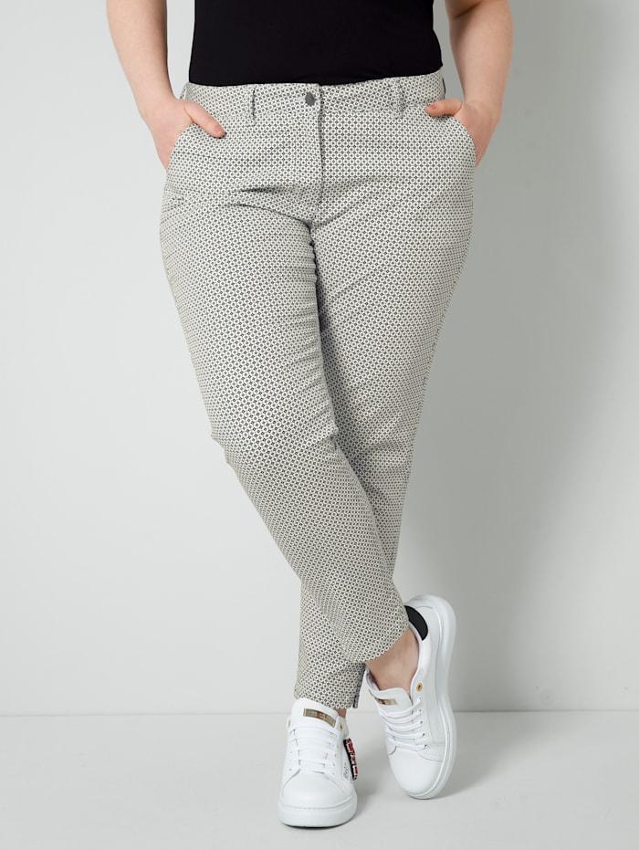 Sara Lindholm Hose mit Minimal Muster allover, Schwarz/Weiß