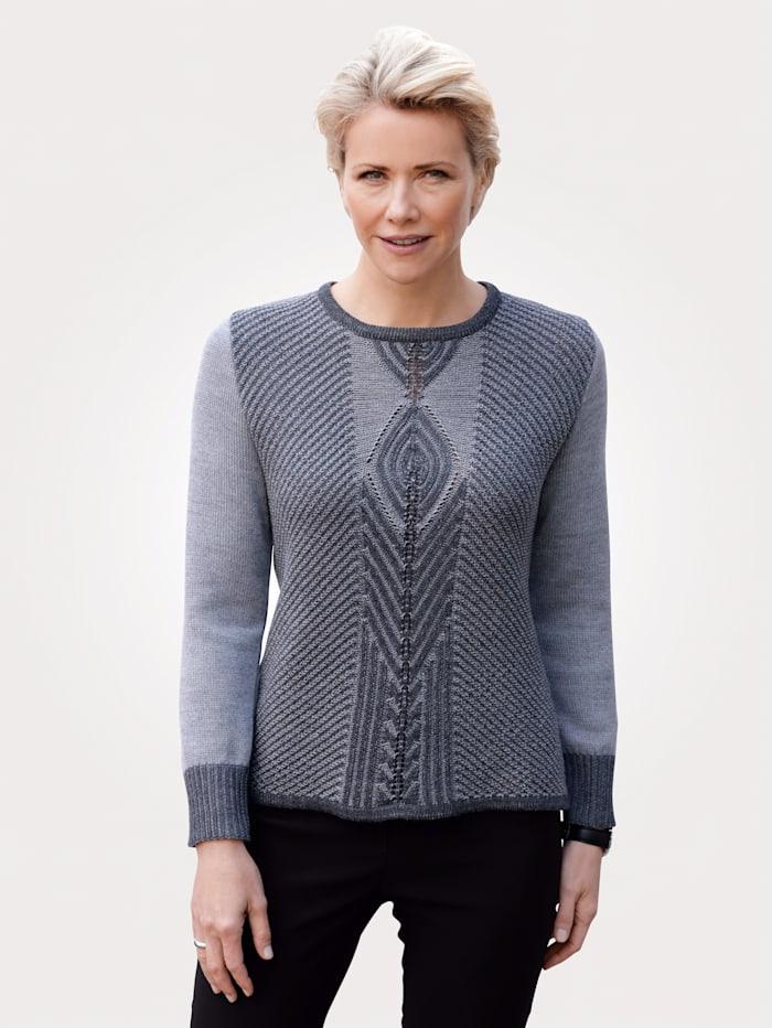 MONA Pullover mit zweifarbigem Strukturstrick, Hellgrau/Grau