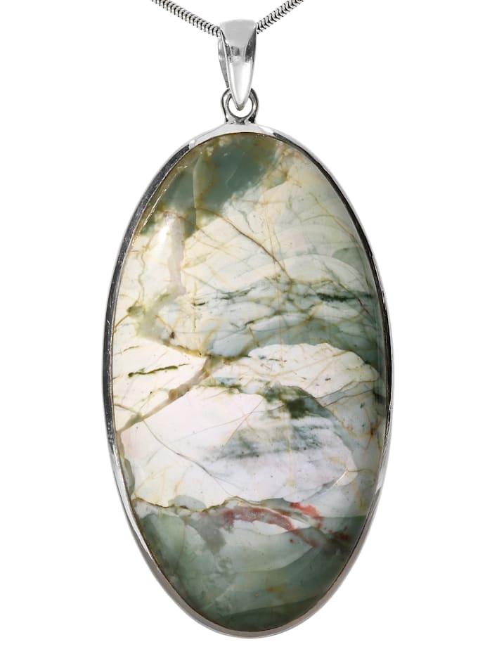 1001 Diamonds Damen Schmuck Edelstein Jaspis Anhänger 925 Silber grau, grau