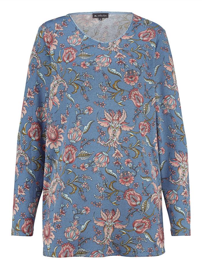 m. collection Feinstrickshirt mit floralem Druckdessin, Blau/Koralle