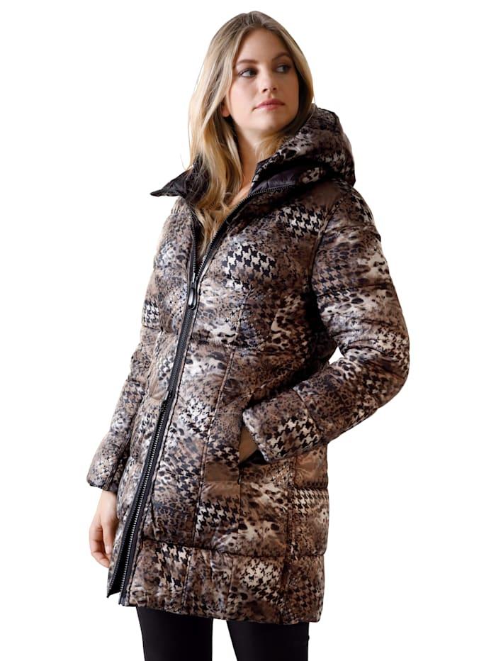 Betty Barclay Gewatteerde jas in keerbaar model, Zwart/Bruin