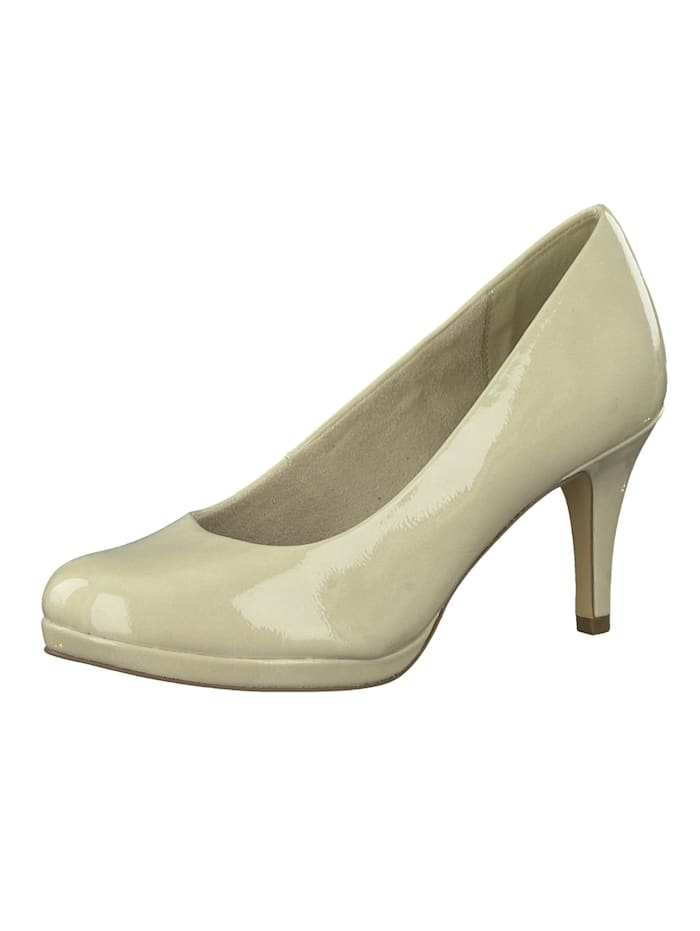 Tamaris Damen Plateau Pumps  1-22444-25 Creme 451 CREAM PATENT  mit TOUCH-IT, CREAM PATENT