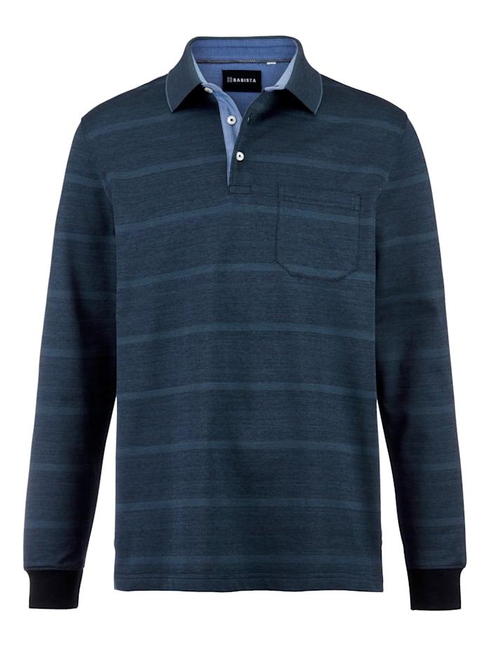 Babista Premium Poloshirt met jacquardpatroon, Blauw