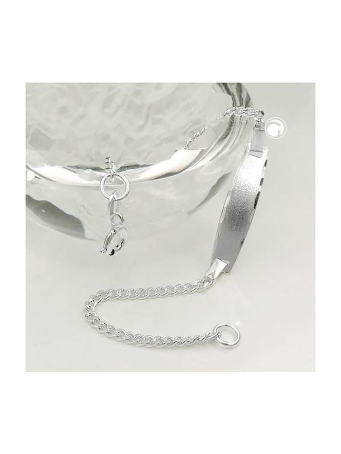 Gallay Schmuckgroßhandel Schildarmband für Kinder 2mm Panzerkette Gravurplatte 23x5mm matt diamantiert Silber 925 14cm, silber