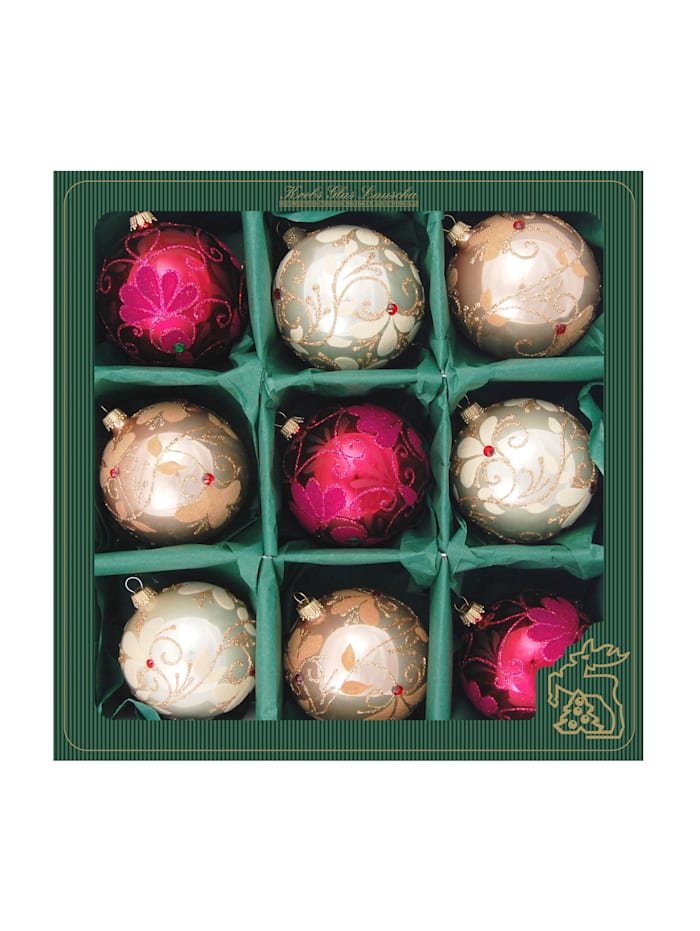 Krebs Glas Lauscha Weihnachtskugel-Set 'Glamour', Champagner/Burgund