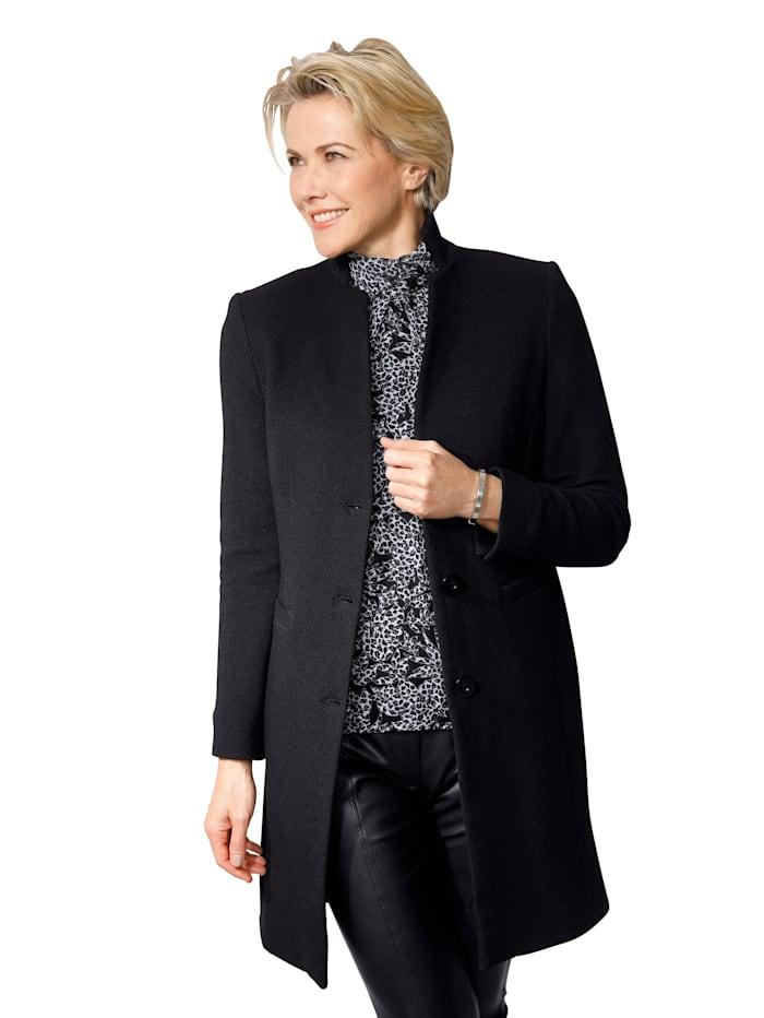 MONA Robe manteau in modieus lang model, Zwart