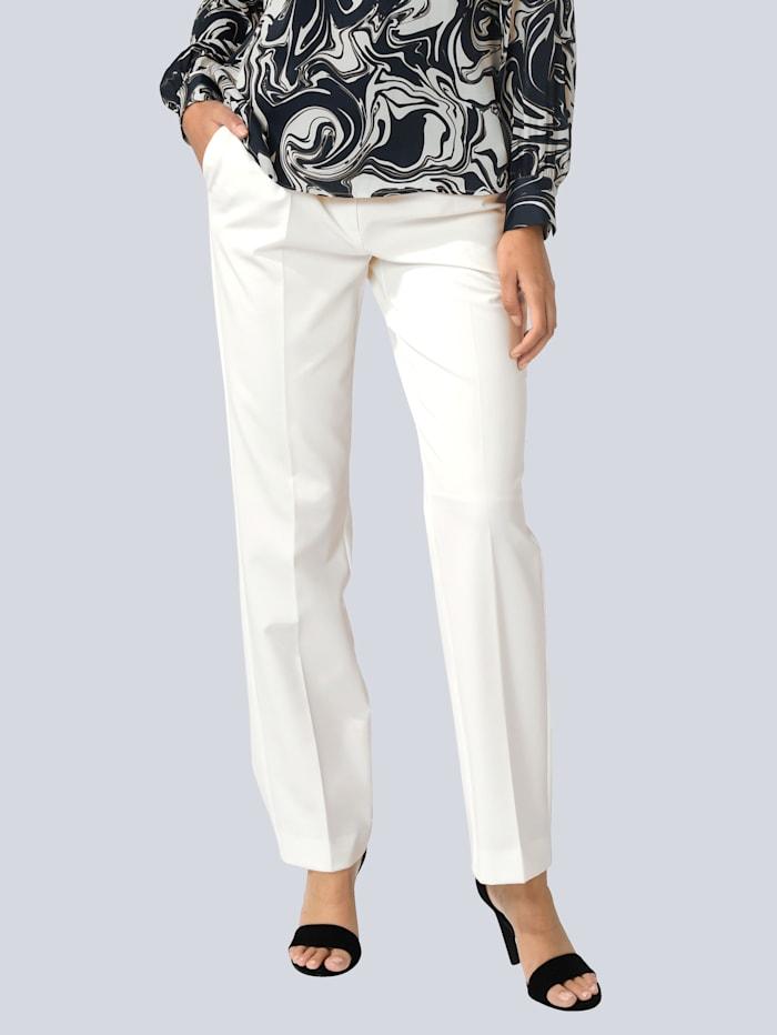 Alba Moda Pantalon à jambes amples, Blanc cassé