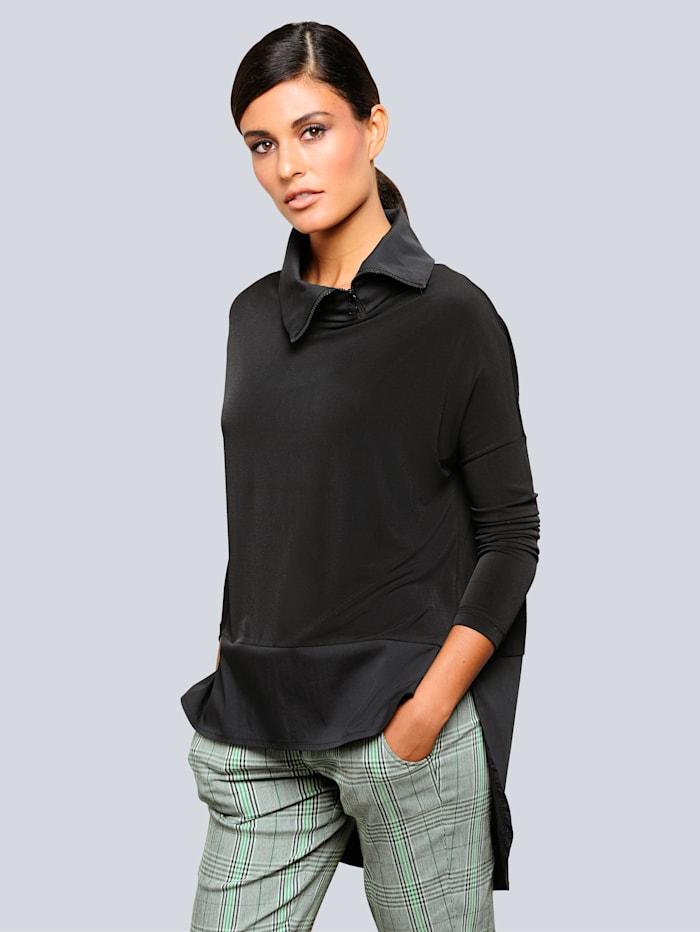 Alba Moda Shirt mit trendiger Zipperverarbeitung am Kragen, Schwarz