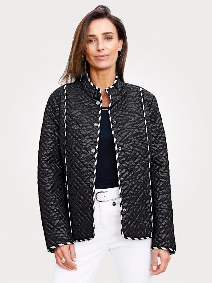 MONA Prešívaná bunda s fóliovou potlačou, Čierna/Biela