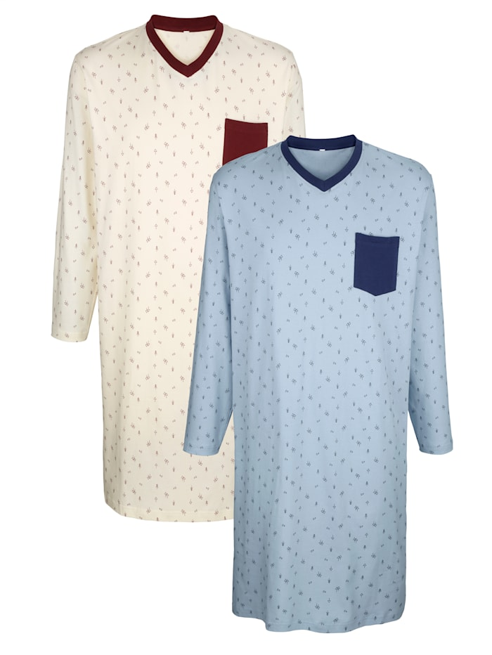 Nachthemden im 2er-Pack mit Seitenschlitzen, Ecru/Hellblau