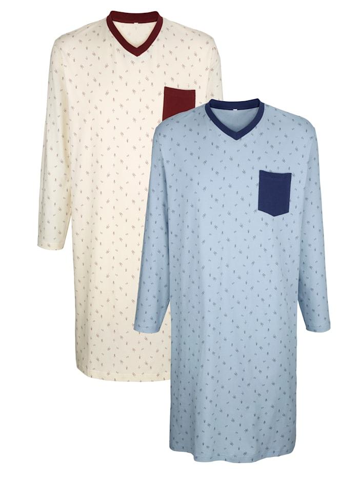 Nachthemden mit Seitenschlitzen, Ecru/Hellblau