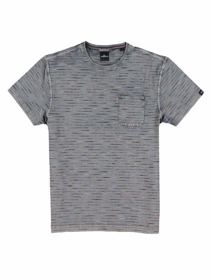 Engbers T-Shirt gestreift, Stahlgrau