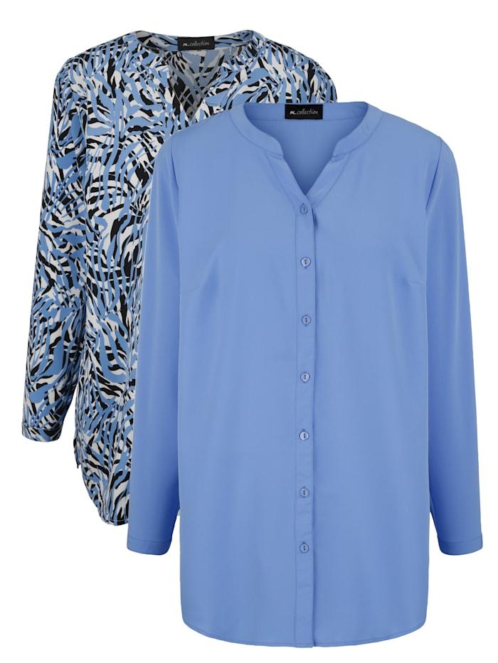 m. collection Set blouses met grafisch patroon en effen, Blauw/Zwart/Wit