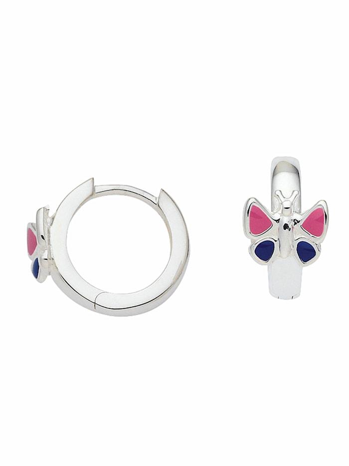 1001 Diamonds 1001 Diamonds Damen Silberschmuck 925 Silber Ohrringe / Creolen Schmetterling Ø 12,4 mm, silber