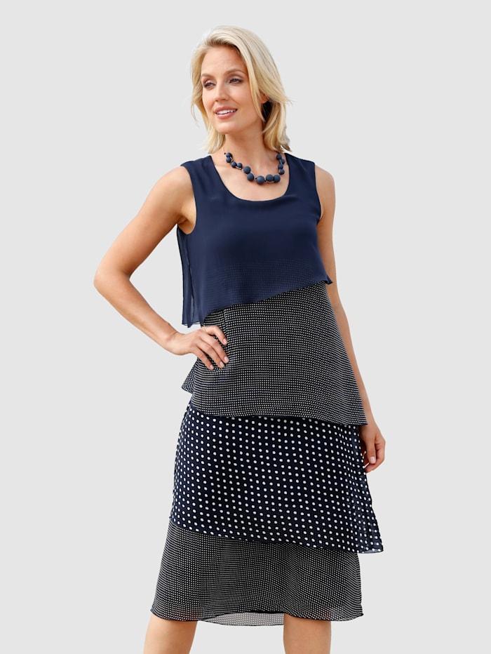Paola Kleid im doppellagigen Look, Marineblau
