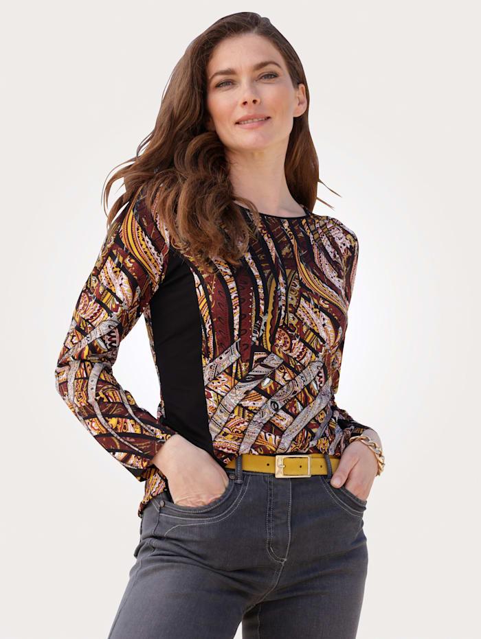 MONA Shirt mit effektvollem Druck, Schwarz/Bordeaux/Maisgelb