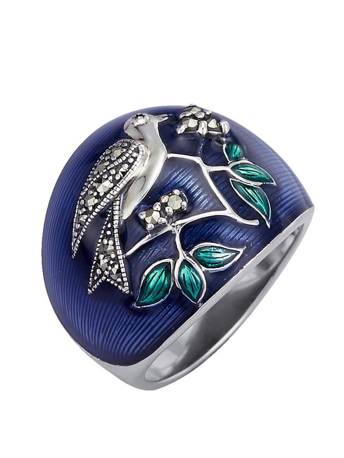 Esse Vogel-Ring mit Markasit, Blau