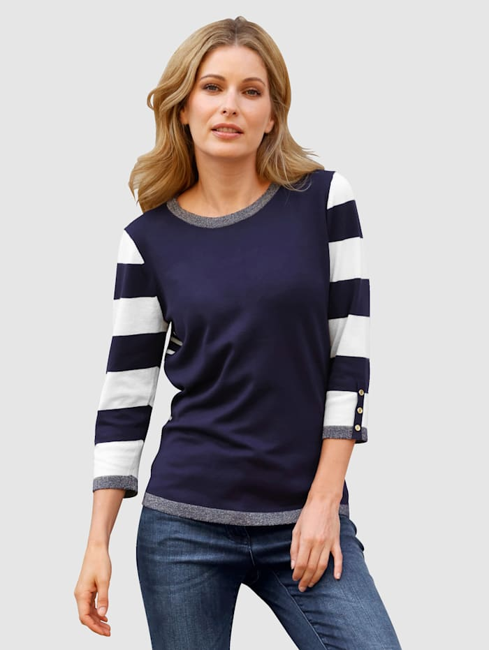 Laura Kent Pullover mit Zierknopfleiste, Marineblau/Weiß