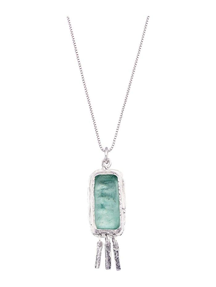 Roman Glass Hanger met ketting van echt zilver, Zilverkleur