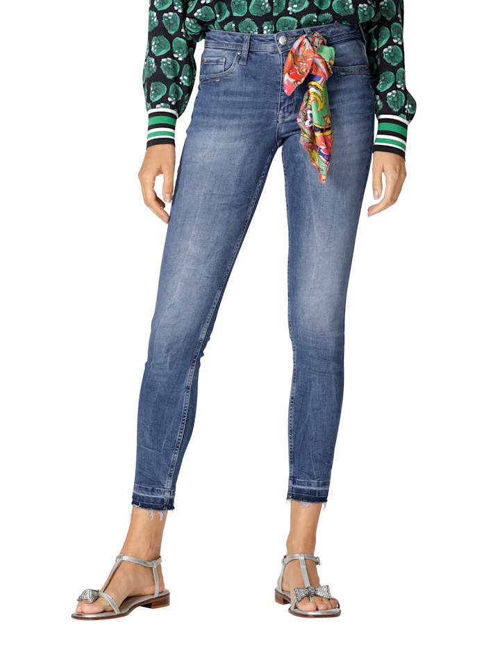 Lieblingsstück Jeans met franjes aan de zoom, Blauw