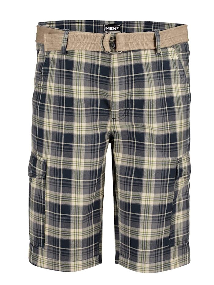 Men Plus Shorts med skärp, Beige/Marinblå/Grön