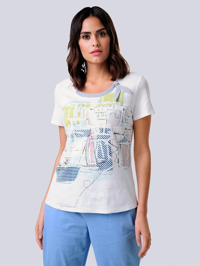 Alba Moda Shirt mit maritimem Motiv in Patchoptik, Weiß