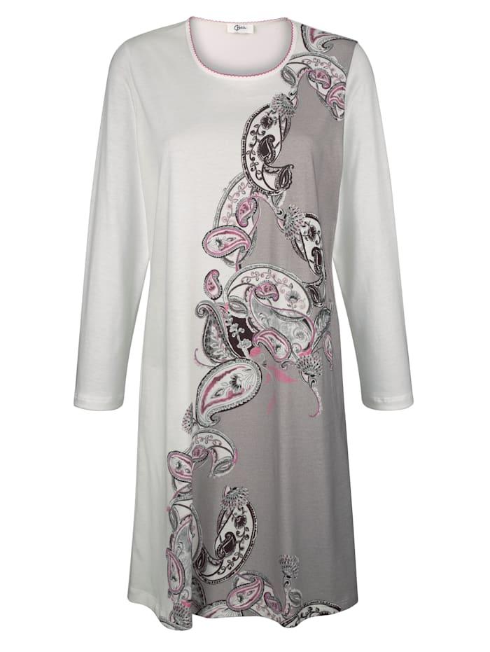 Naturana Nachthemd mit elegantem Paisley-Druck, Ecru/Taupe/Pink