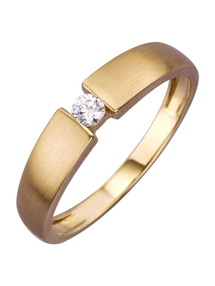 Damenring mit Diamant, Gelbgoldfarben