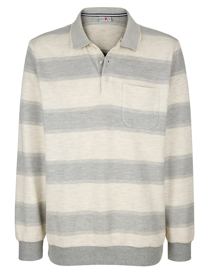 Roger Kent Sweatshirt met strepen, Ecru/Grijs
