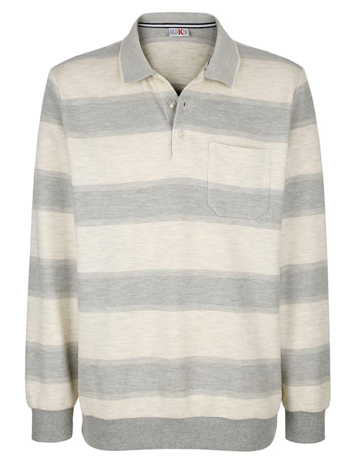 Roger Kent Sweatshirt mit Streifenmuster, Ecru/Grau