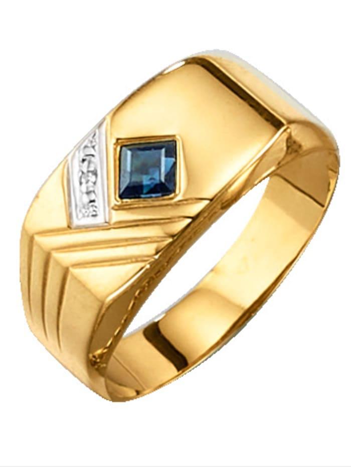 KLiNGEL Herrenring Gelbgold, Blau