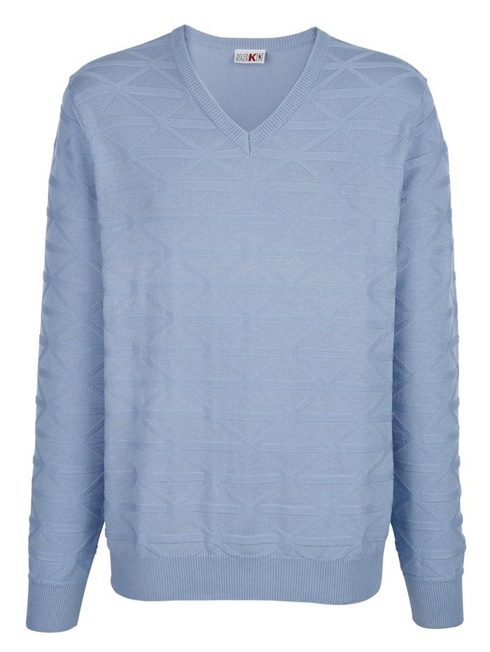 Roger Kent V-ringad tröja med stickat mönster, Ljusblå