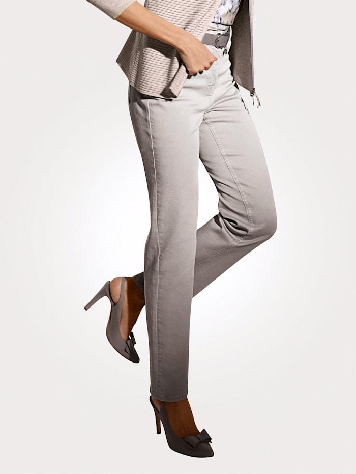 MONA Pantalon partiellement extensible en grandes tailles, Gris argenté