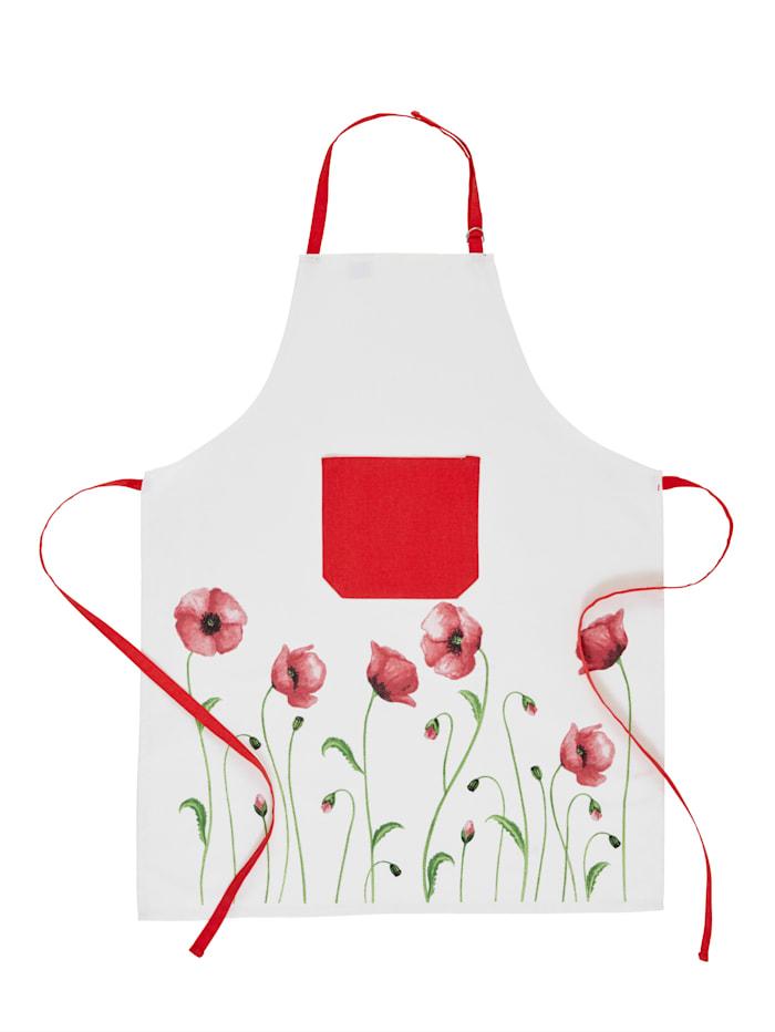 Kracht Schürze 'Mohnblumen', Rot