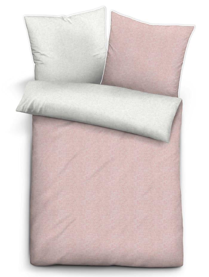 Biberna Parure de lit 2 pièces 'Aylin' en flanelle mélangée, rose