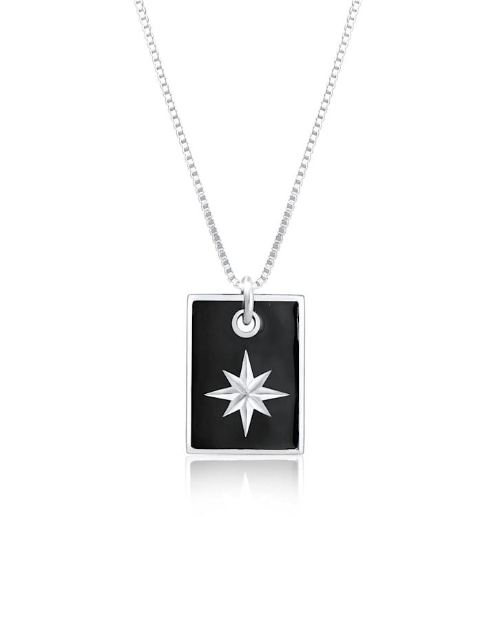 Kuzzoi Halskette Dog Tag Militär Emaille Schwarz Stern 925 Silber, Schwarz