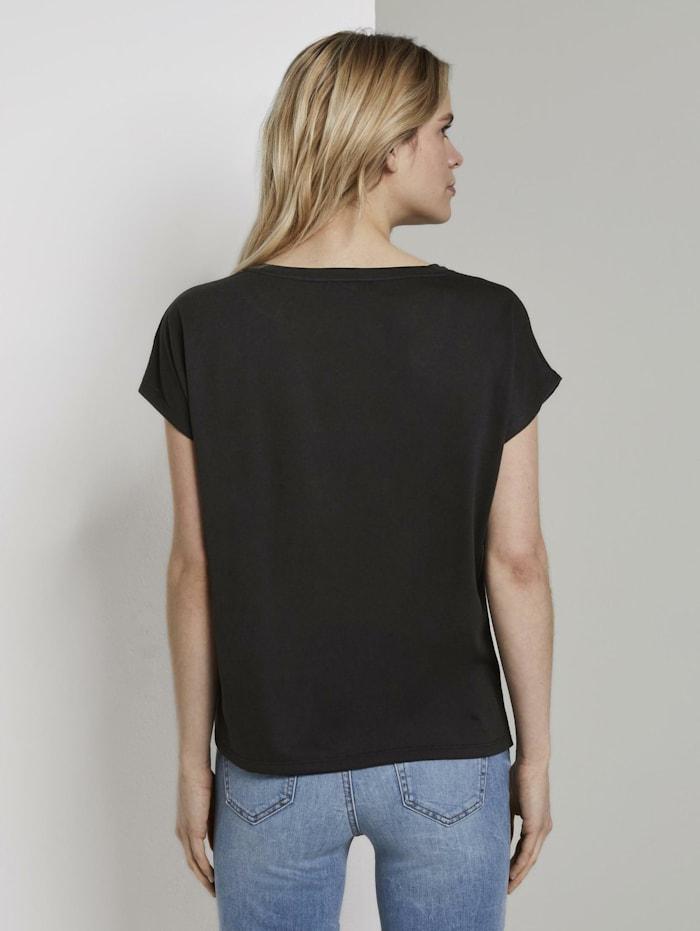 T-Shirt mit Knotendetail im Material-Mix