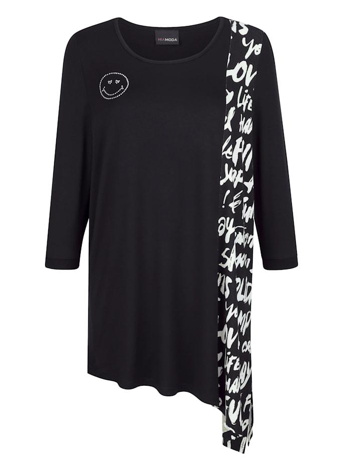 MIAMODA Longshirt met puntige zoom aan een kant, Zwart/Wit