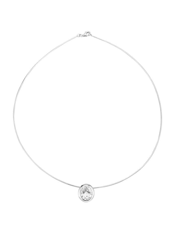 Amara Tendance Pendentif + collier oméga en argent 925, Blanc