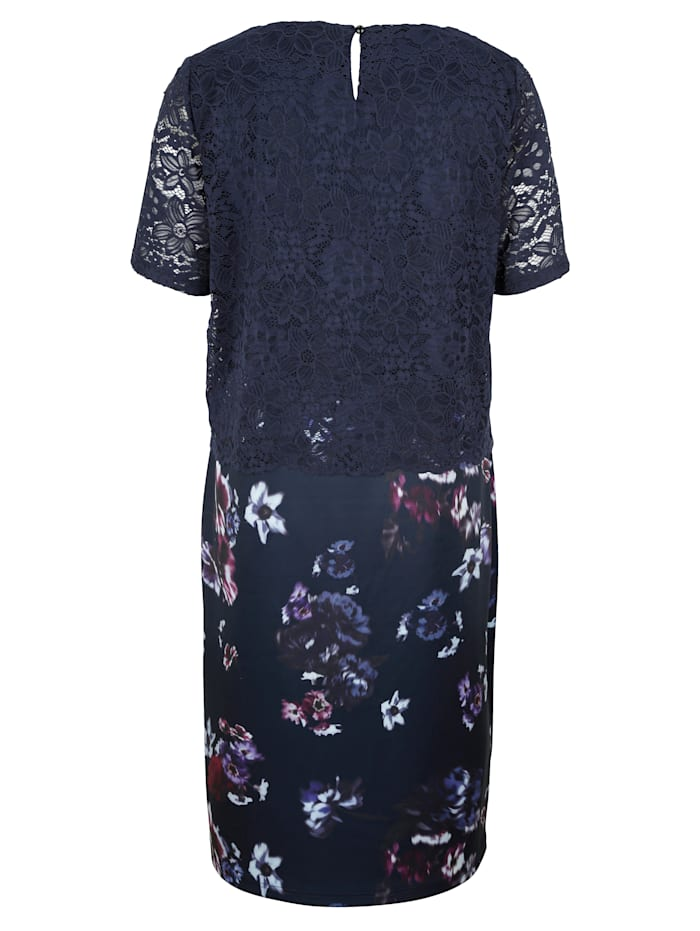 2-in-1 Kleid mit Spitzenoberteil und floral bedrucktem Rock